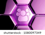 metallic magenta users icon in...