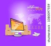 shopping online on website or...   Shutterstock .eps vector #1080097559