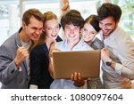 start up team with laptop... | Shutterstock . vector #1080097604