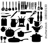 kitchen tools silhouette vector ... | Shutterstock .eps vector #108010130