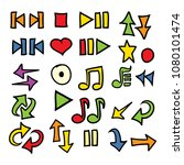 hand drawn doodle arrows music... | Shutterstock .eps vector #1080101474