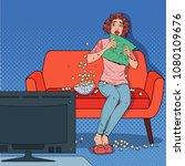 pop art woman watching a horror ... | Shutterstock .eps vector #1080109676