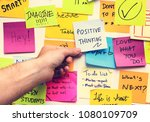 positive thinking note on a wall | Shutterstock . vector #1080109709