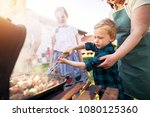 focused little adorable toddler ... | Shutterstock . vector #1080125360