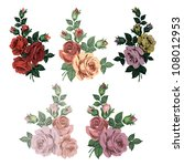 vintage roses isolated   Shutterstock .eps vector #108012953