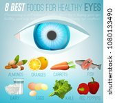eight best foods for healthy... | Shutterstock .eps vector #1080133490