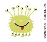 funny nursery poster with cute... | Shutterstock .eps vector #1080137228