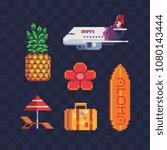 travel to hawaii pixel art icon ... | Shutterstock .eps vector #1080143444
