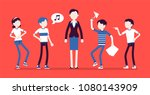 teacher annoyed with naughty... | Shutterstock .eps vector #1080143909