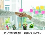businessman and businesswoman... | Shutterstock . vector #1080146960