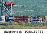 port of containers in devnya ... | Shutterstock . vector #1080151736