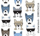 seamless dog pattern  cute dog...   Shutterstock .eps vector #1080156116