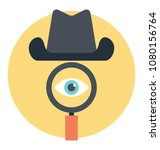 magnifier with spy hat showing ... | Shutterstock .eps vector #1080156764