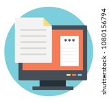 monitor screen with document ... | Shutterstock .eps vector #1080156794