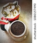 metal pot italian coffee maker... | Shutterstock . vector #1080157490