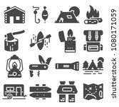 hiking and camping icons set.... | Shutterstock .eps vector #1080171059