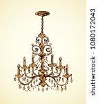 golden rich lampshade hang on... | Shutterstock .eps vector #1080172043