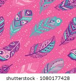 decorative feathers pattern.... | Shutterstock .eps vector #1080177428