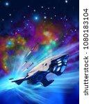 spacecraft emerges from... | Shutterstock . vector #1080183104