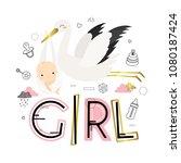 baby shower. it's a girl.... | Shutterstock .eps vector #1080187424