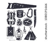 vintage hand drawn camping... | Shutterstock .eps vector #1080191666