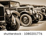 vintage cars  sepia | Shutterstock . vector #1080201776