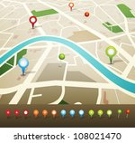 street map with pins icons ... | Shutterstock .eps vector #108021470