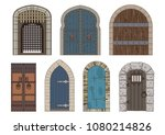 vector ancient medieval castle... | Shutterstock .eps vector #1080214826