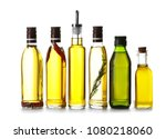 glass bottles with olive oil on ...   Shutterstock . vector #1080218060