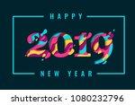 2019 happy new year paper craft ... | Shutterstock .eps vector #1080232796