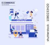 e commerce and shopping flat... | Shutterstock .eps vector #1080233420