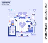 medicine and healthcare flat... | Shutterstock .eps vector #1080233450