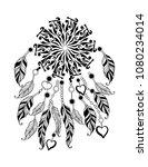 polynesian feather mandala ... | Shutterstock .eps vector #1080234014