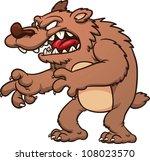 angry cartoon bear roaring.... | Shutterstock .eps vector #108023570