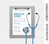 medical clipboard and paper... | Shutterstock .eps vector #1080239843