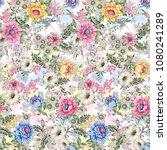 watercolor flower pattern | Shutterstock . vector #1080241289