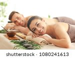 young couple relaxing in spa... | Shutterstock . vector #1080241613