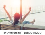 easy relax business woman... | Shutterstock . vector #1080245270