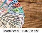 australian dollars and us... | Shutterstock . vector #1080245420