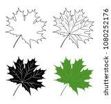 green maple leaf. silhouette... | Shutterstock .eps vector #1080252176
