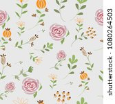 hand drawing roses and leave... | Shutterstock . vector #1080264503