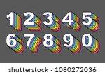 80's retro numbers. rainbow... | Shutterstock .eps vector #1080272036