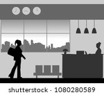 a business woman is coming to... | Shutterstock .eps vector #1080280589