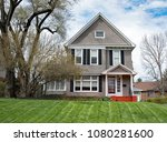 gray stucco house with black... | Shutterstock . vector #1080281600
