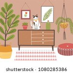 interior of comfy room with... | Shutterstock .eps vector #1080285386