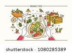 horizontal banner with hands... | Shutterstock .eps vector #1080285389