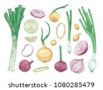 bundle of different whole and... | Shutterstock .eps vector #1080285479