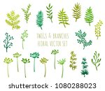 willow and palm tree branches ... | Shutterstock .eps vector #1080288023