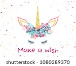 unicorn horn in floral wreath... | Shutterstock .eps vector #1080289370