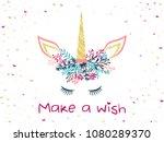 unicorn horn in floral wreath... | Shutterstock .eps vector #1080289370